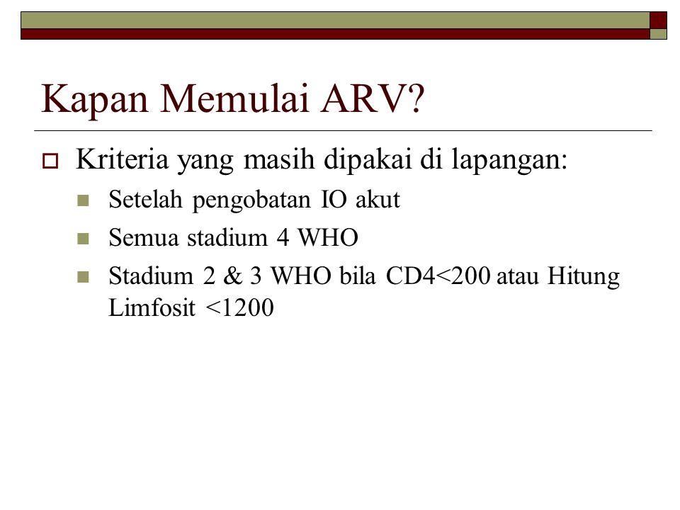 Kapan Memulai ARV?  Kriteria yang masih dipakai di lapangan: Setelah pengobatan IO akut Semua stadium 4 WHO Stadium 2 & 3 WHO bila CD4<200 atau Hitun