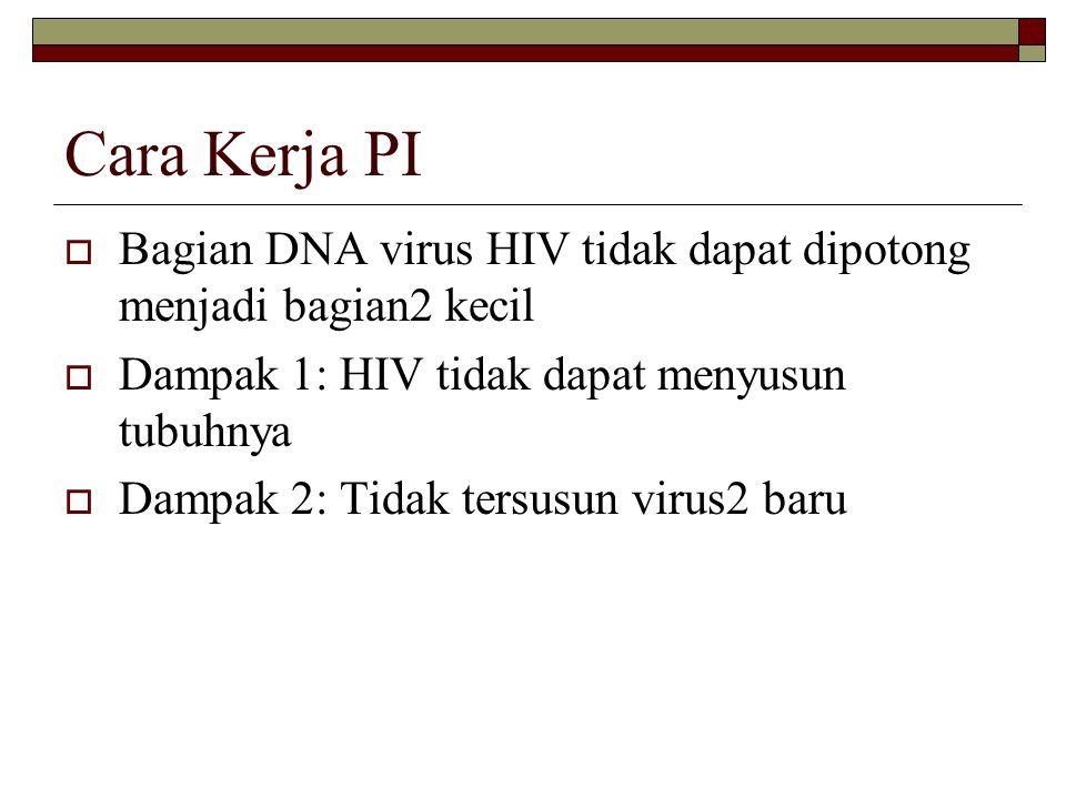 Cara Kerja PI  Bagian DNA virus HIV tidak dapat dipotong menjadi bagian2 kecil  Dampak 1: HIV tidak dapat menyusun tubuhnya  Dampak 2: Tidak tersus