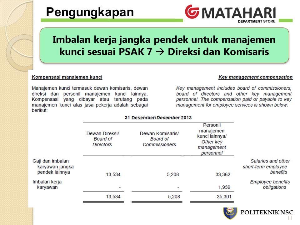 Imbalan kerja jangka pendek untuk manajemen kunci sesuai PSAK 7  Direksi dan Komisaris POLITEKNIK NSC Pengungkapan 11
