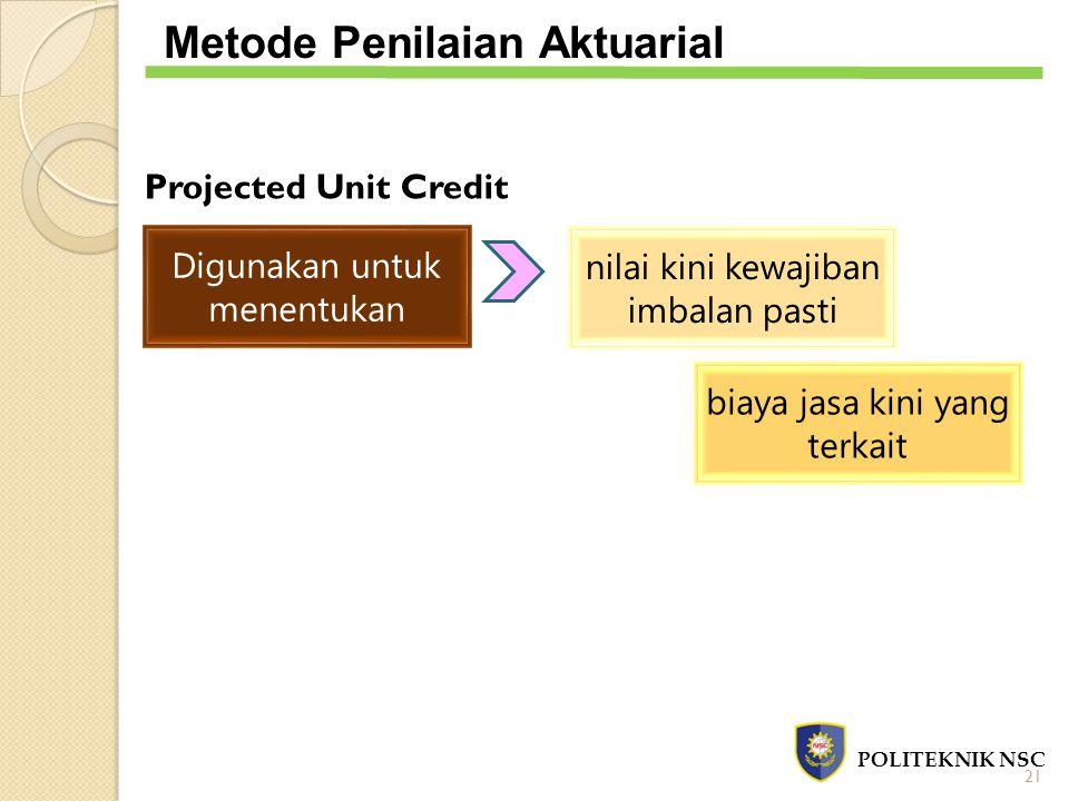 Projected Unit Credit Digunakan untuk menentukan nilai kini kewajiban imbalan pasti biaya jasa kini yang terkait POLITEKNIK NSC Metode Penilaian Aktua