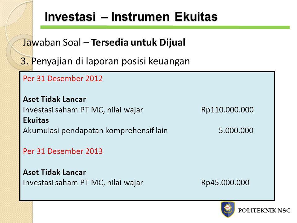 3. Penyajian di laporan posisi keuangan Per 31 Desember 2012 Aset Tidak Lancar Investasi saham PT MC, nilai wajarRp110.000.000 Ekuitas Akumulasi penda
