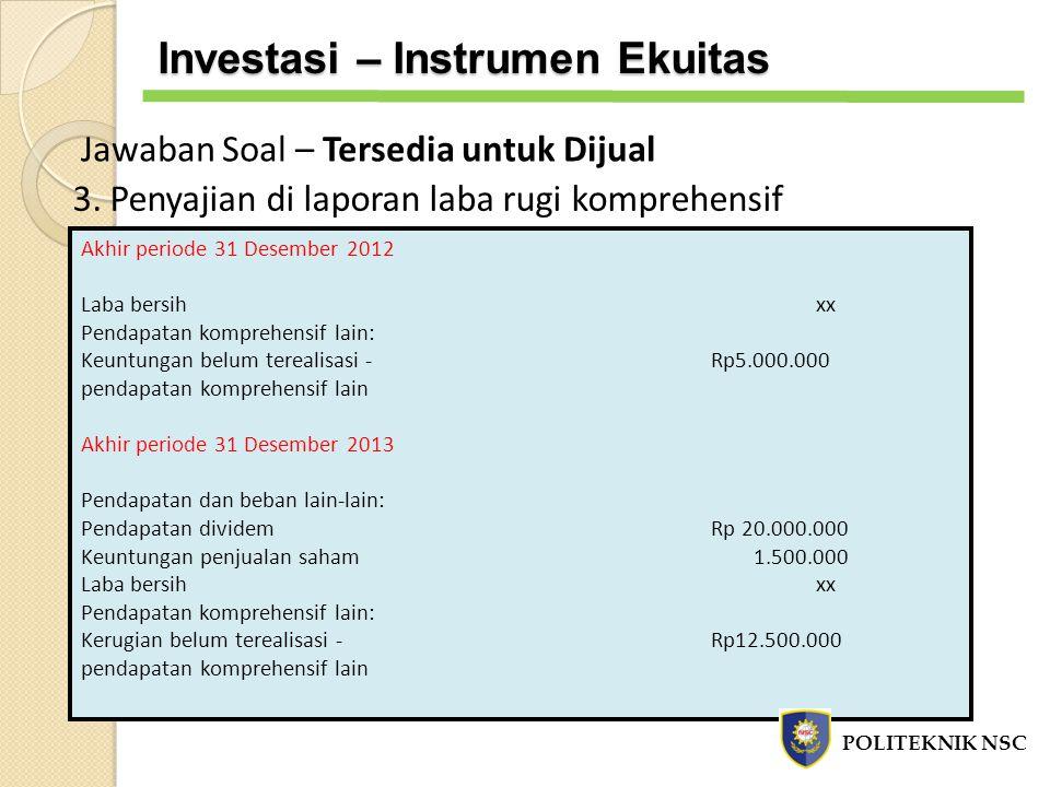 3. Penyajian di laporan laba rugi komprehensif Akhir periode 31 Desember 2012 Laba bersihxx Pendapatan komprehensif lain: Keuntungan belum terealisasi