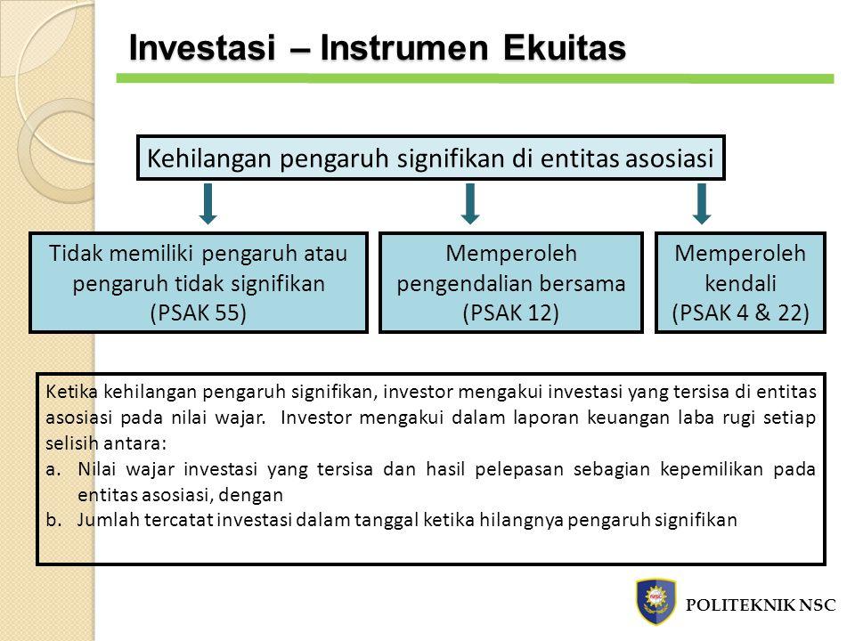 Kehilangan pengaruh signifikan di entitas asosiasi Memperoleh pengendalian bersama (PSAK 12) Memperoleh kendali (PSAK 4 & 22) Tidak memiliki pengaruh
