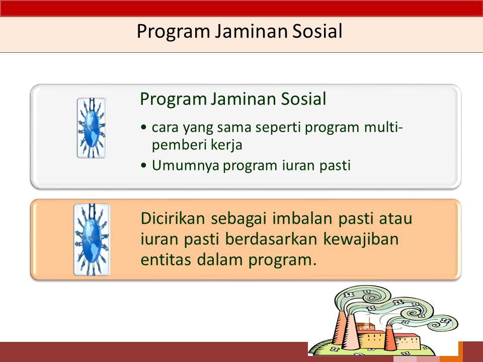 Program Jaminan Sosial cara yang sama seperti program multi- pemberi kerja Umumnya program iuran pasti Dicirikan sebagai imbalan pasti atau iuran past