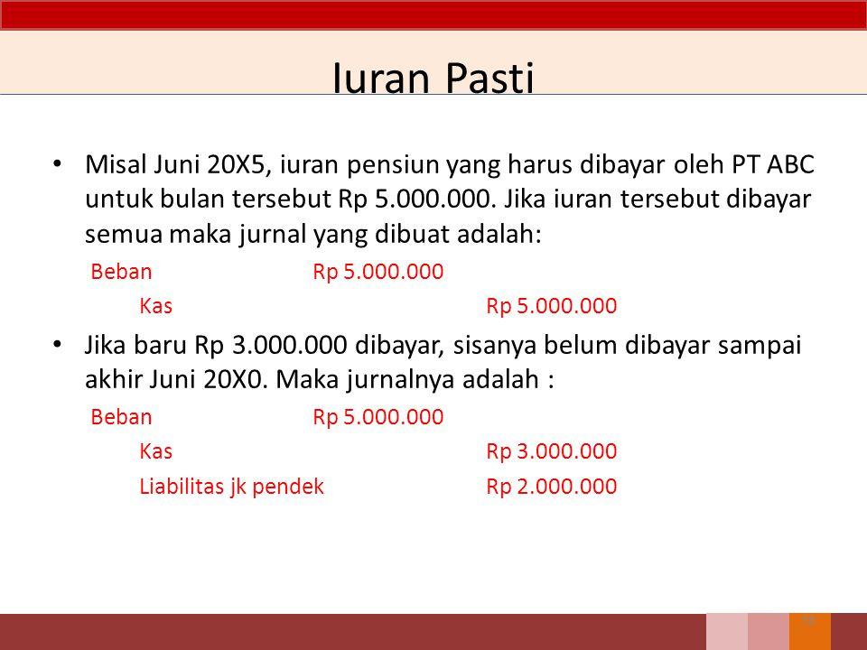 Iuran Pasti Misal Juni 20X5, iuran pensiun yang harus dibayar oleh PT ABC untuk bulan tersebut Rp 5.000.000. Jika iuran tersebut dibayar semua maka ju
