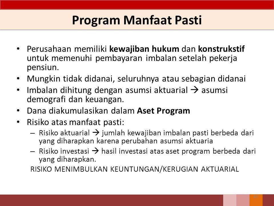Program Manfaat Pasti Perusahaan memiliki kewajiban hukum dan konstrukstif untuk memenuhi pembayaran imbalan setelah pekerja pensiun. Mungkin tidak di