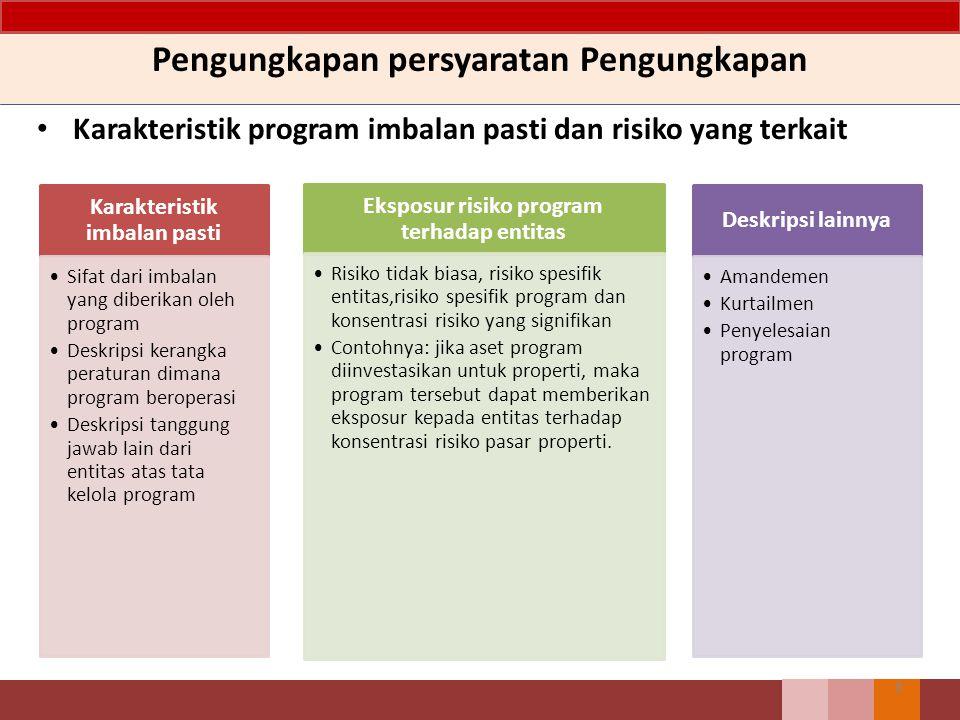 Pengungkapan persyaratan Pengungkapan Karakteristik program imbalan pasti dan risiko yang terkait 8 Karakteristik imbalan pasti Sifat dari imbalan yan