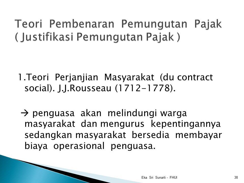 1.Teori Perjanjian Masyarakat (du contract social).