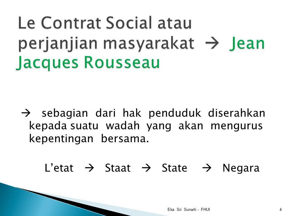  sebagian dari hak penduduk diserahkan kepada suatu wadah yang akan mengurus kepentingan bersama.