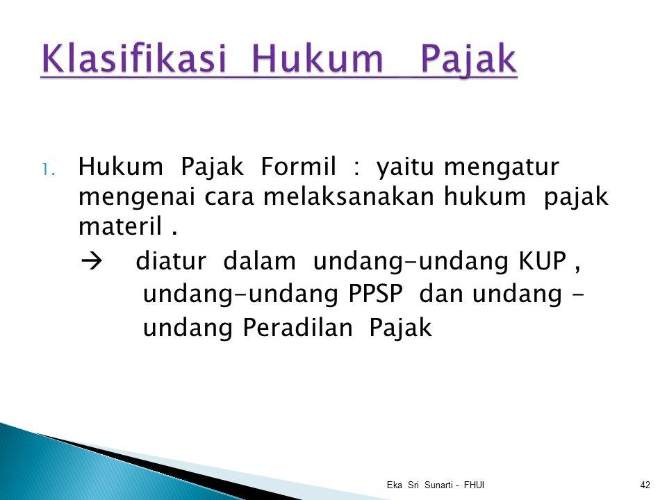 1.Hukum Pajak Formil : yaitu mengatur mengenai cara melaksanakan hukum pajak materil.