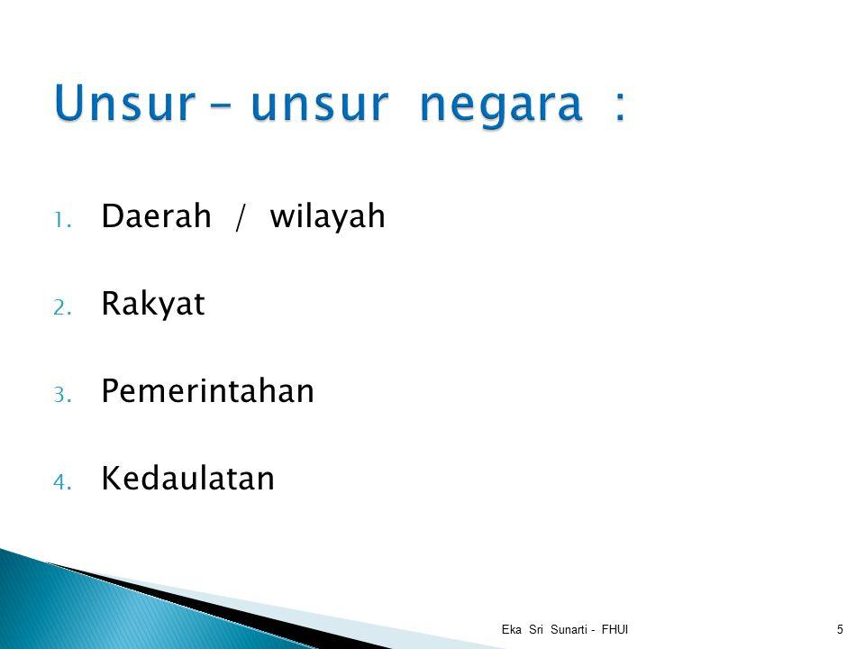1. Daerah / wilayah 2. Rakyat 3. Pemerintahan 4. Kedaulatan Eka Sri Sunarti - FHUI5
