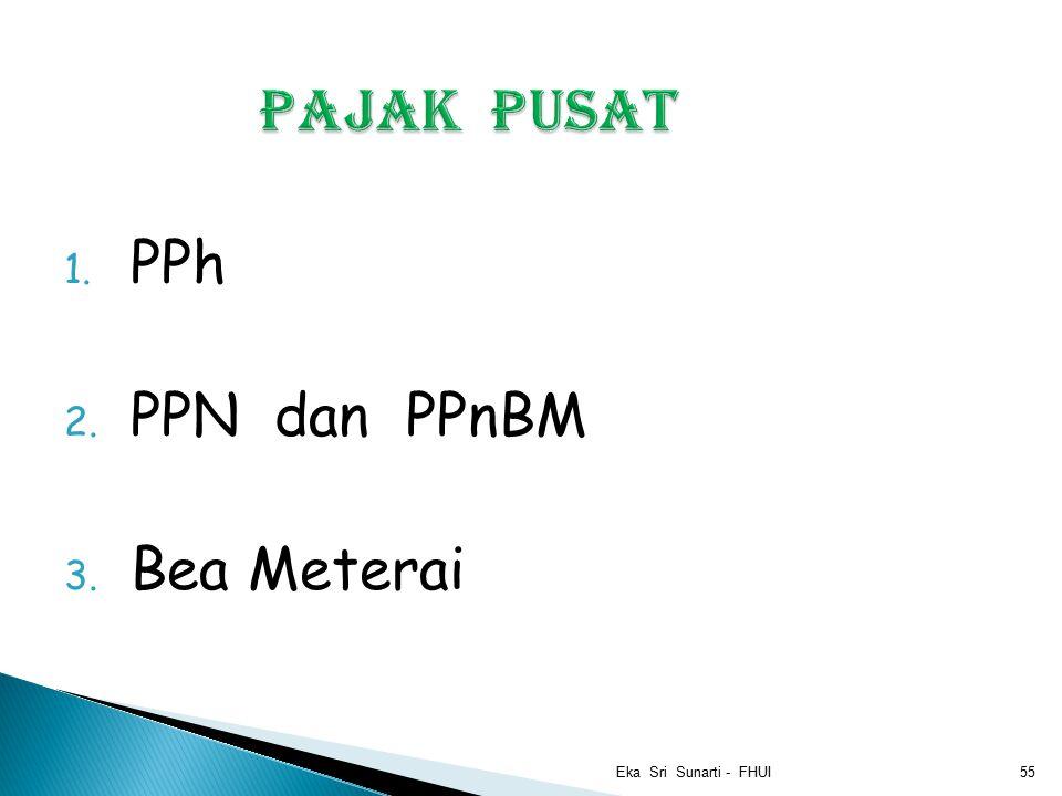 1. PPh 2. PPN dan PPnBM 3. Bea Meterai Eka Sri Sunarti - FHUI55
