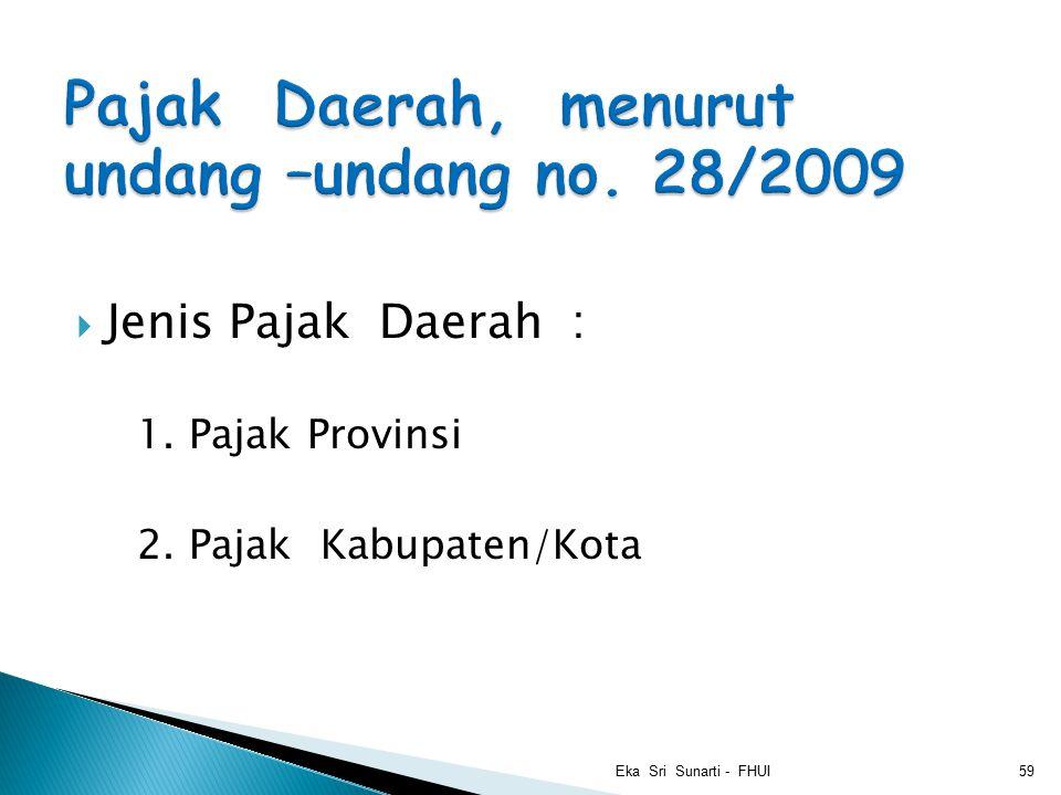  Jenis Pajak Daerah : 1. Pajak Provinsi 2. Pajak Kabupaten/Kota Eka Sri Sunarti - FHUI59