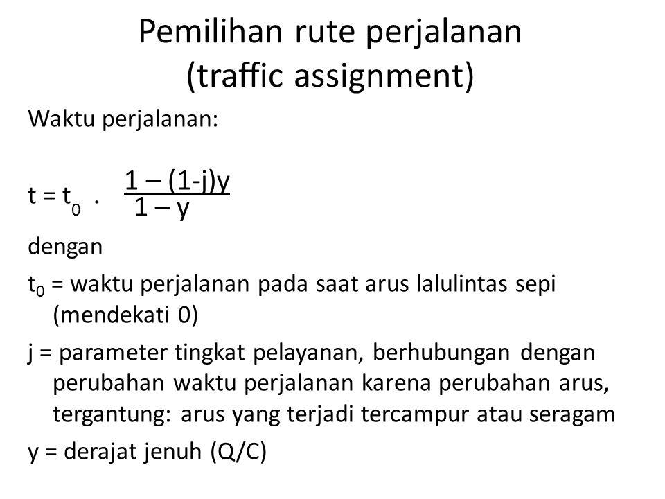 Pemilihan rute perjalanan (traffic assignment) Waktu perjalanan: 1 – (1-j)y t = t 0. 1 – y dengan t 0 = waktu perjalanan pada saat arus lalulintas sep
