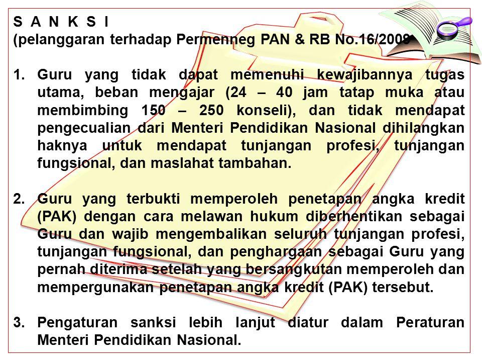 S A N K S I (pelanggaran terhadap Permenneg PAN & RB No.16/2009 1.Guru yang tidak dapat memenuhi kewajibannya tugas utama, beban mengajar (24 – 40 jam tatap muka atau membimbing 150 – 250 konseli), dan tidak mendapat pengecualian dari Menteri Pendidikan Nasional dihilangkan haknya untuk mendapat tunjangan profesi, tunjangan fungsional, dan maslahat tambahan.
