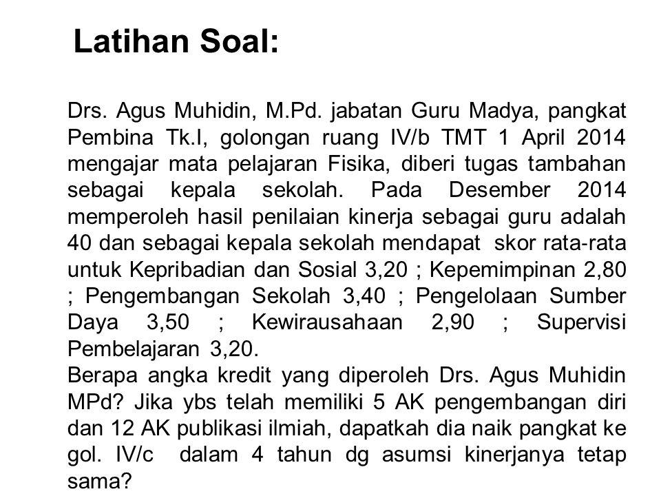 Drs. Agus Muhidin, M.Pd. jabatan Guru Madya, pangkat Pembina Tk.I, golongan ruang IV/b TMT 1 April 2014 mengajar mata pelajaran Fisika, diberi tugas t