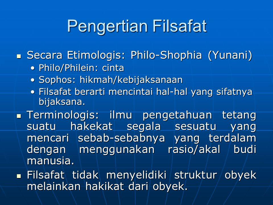 Pengertian Filsafat Secara Etimologis: Philo-Shophia (Yunani) Secara Etimologis: Philo-Shophia (Yunani) Philo/Philein: cintaPhilo/Philein: cinta Sopho