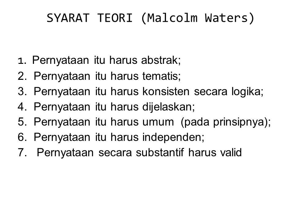 SYARAT TEORI (Malcolm Waters) 1. Pernyataan itu harus abstrak; 2. Pernyataan itu harus tematis; 3. Pernyataan itu harus konsisten secara logika; 4. Pe