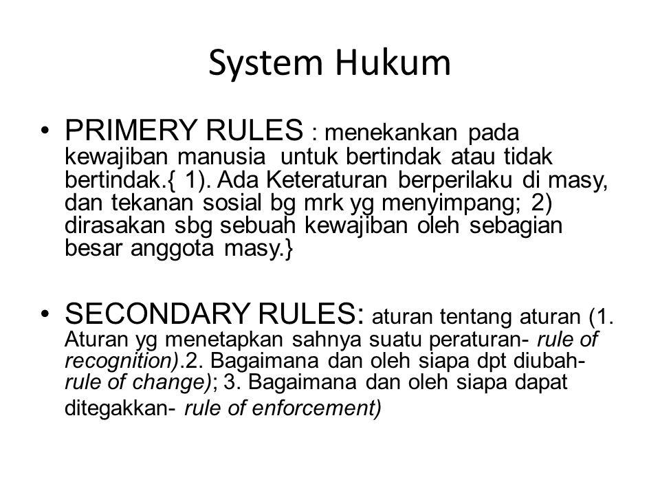 System Hukum PRIMERY RULES : menekankan pada kewajiban manusia untuk bertindak atau tidak bertindak.{ 1). Ada Keteraturan berperilaku di masy, dan tek