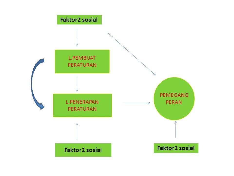 L.PEMBUAT PERATURAN L.PENERAPAN PERATURAN PEMEGANG PERAN Faktor2 sosial