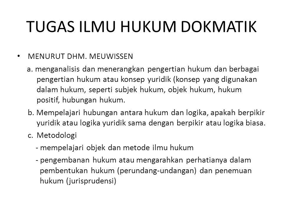 TUGAS ILMU HUKUM DOKMATIK MENURUT DHM. MEUWISSEN a. menganalisis dan menerangkan pengertian hukum dan berbagai pengertian hukum atau konsep yuridik (k