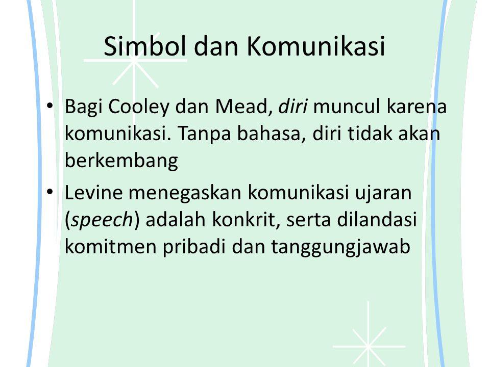 Simbol dan Komunikasi Bagi Cooley dan Mead, diri muncul karena komunikasi.