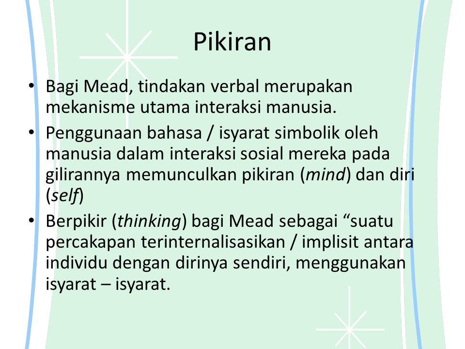 Pikiran Bagi Mead, tindakan verbal merupakan mekanisme utama interaksi manusia. Penggunaan bahasa / isyarat simbolik oleh manusia dalam interaksi sosi