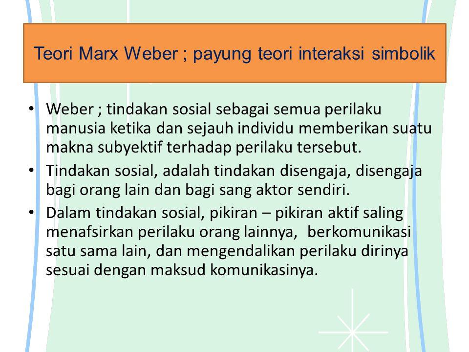 Teori Marx Weber ; payung teori interaksi simbolik Weber ; tindakan sosial sebagai semua perilaku manusia ketika dan sejauh individu memberikan suatu makna subyektif terhadap perilaku tersebut.