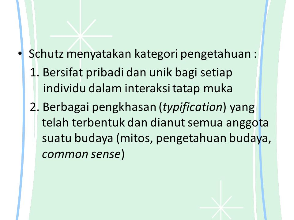Schutz menyatakan kategori pengetahuan : 1.