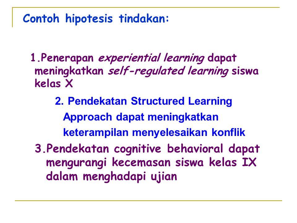Contoh hipotesis tindakan: 1.Penerapan experiential learning dapat meningkatkan self-regulated learning siswa kelas X 2. Pendekatan Structured Learnin
