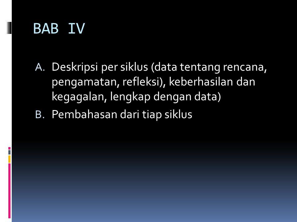 BAB IV A. Deskripsi per siklus (data tentang rencana, pengamatan, refleksi), keberhasilan dan kegagalan, lengkap dengan data) B. Pembahasan dari tiap