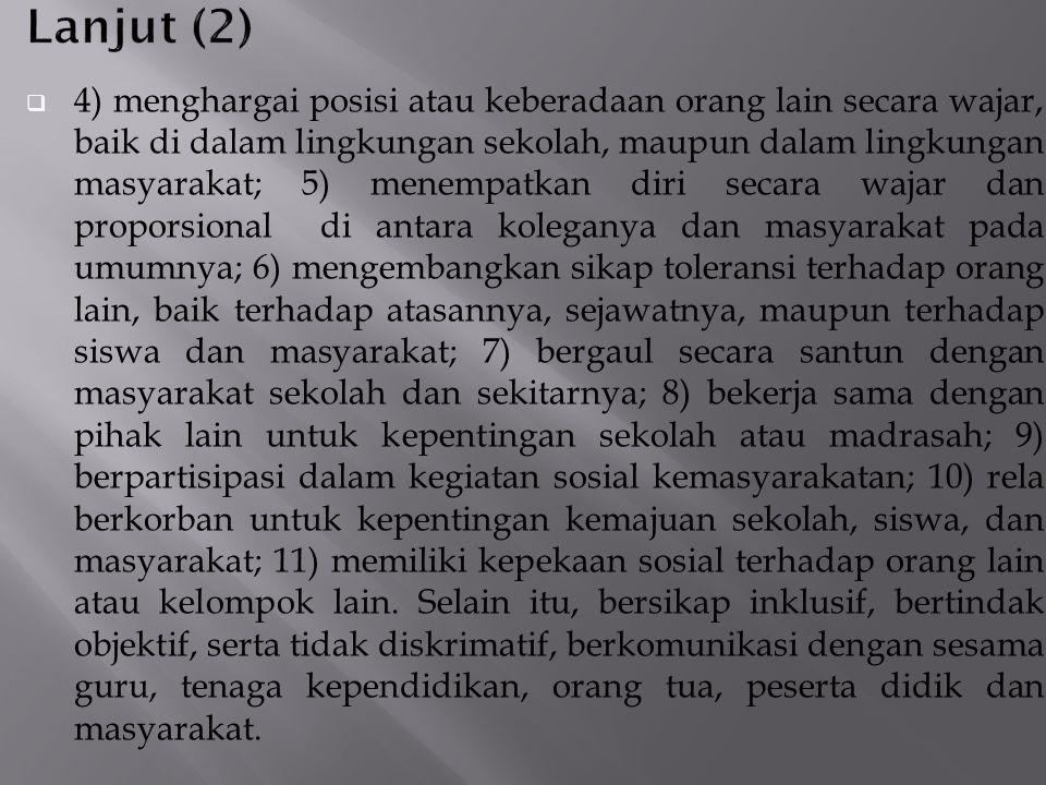  4) menghargai posisi atau keberadaan orang lain secara wajar, baik di dalam lingkungan sekolah, maupun dalam lingkungan masyarakat; 5) menempatkan d