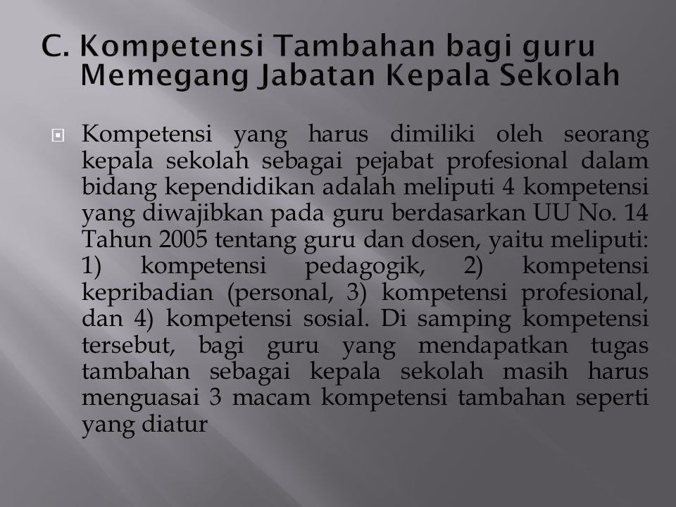  Kompetensi yang harus dimiliki oleh seorang kepala sekolah sebagai pejabat profesional dalam bidang kependidikan adalah meliputi 4 kompetensi yang d