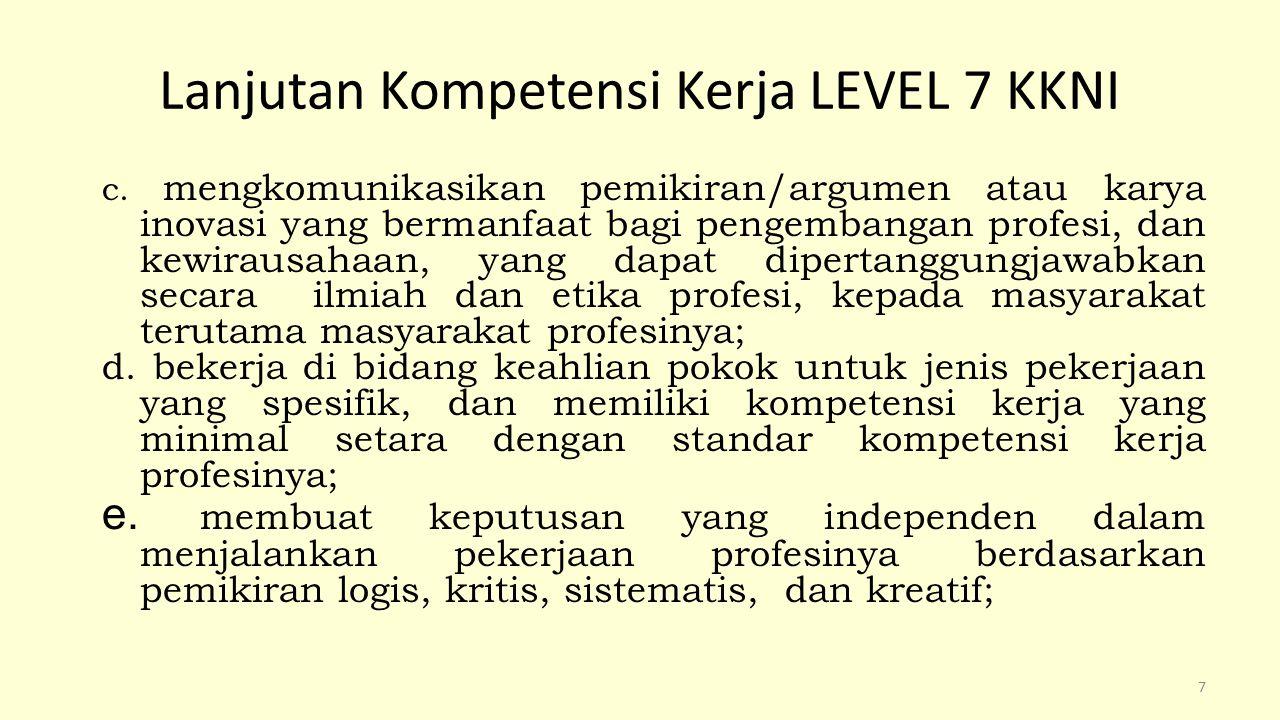 Lanjutan Kompetensi Kerja LEVEL 7 KKNI f menyusun laporan atau kertas kerja atau menghasilkan karya desain di bidang keahliannya berdasarkan kaidah rancangan dan prosedur baku, serta kode etik profesinya, yang dapat diakses oleh masyarakat akademik; g.