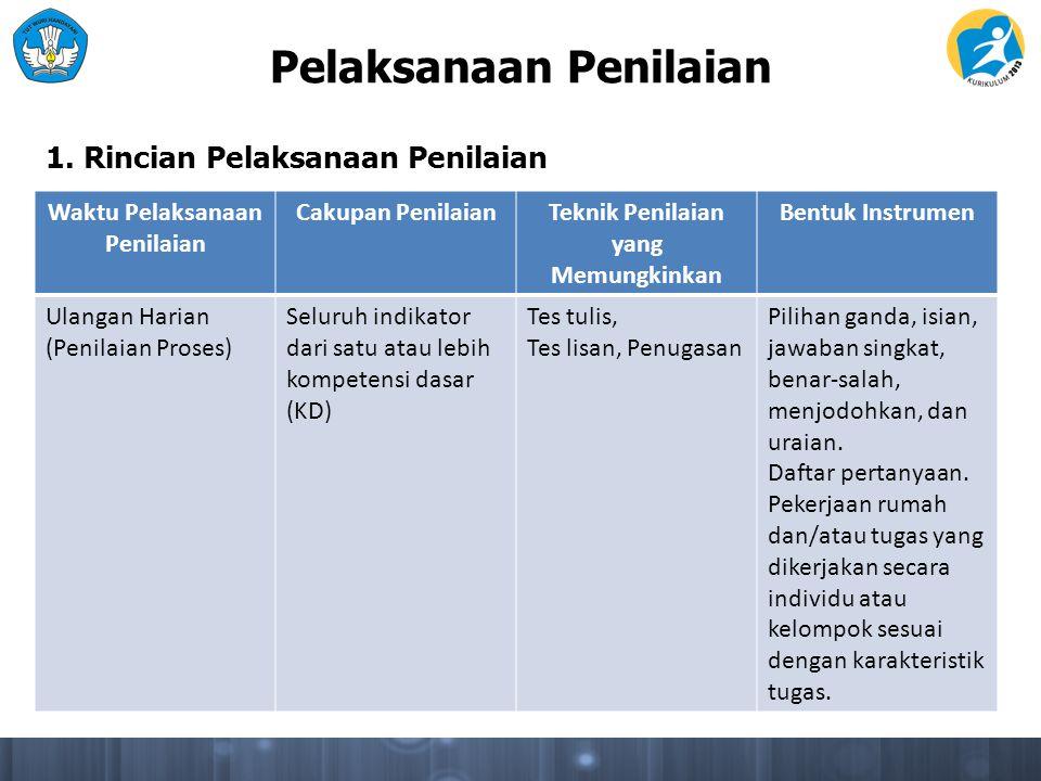 Pelaksanaan Penilaian Waktu Pelaksanaan Penilaian Cakupan PenilaianTeknik Penilaian yang Memungkinkan Bentuk Instrumen Ulangan Harian (Penilaian Prose