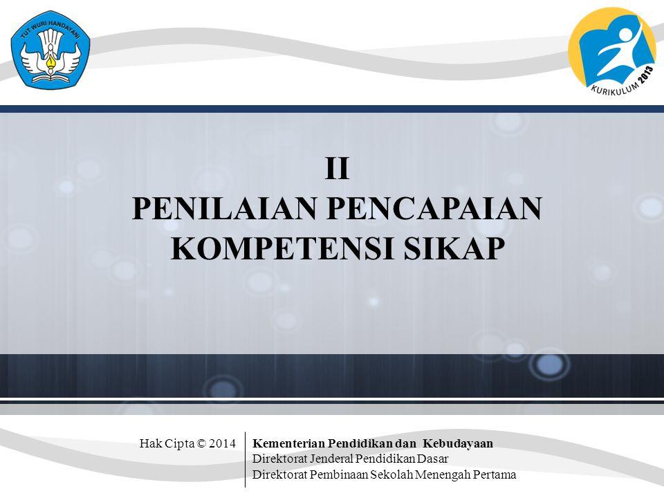 Hak Cipta © 2014Kementerian Pendidikan dan Kebudayaan Direktorat Jenderal Pendidikan Dasar Direktorat Pembinaan Sekolah Menengah Pertama II PENILAIAN