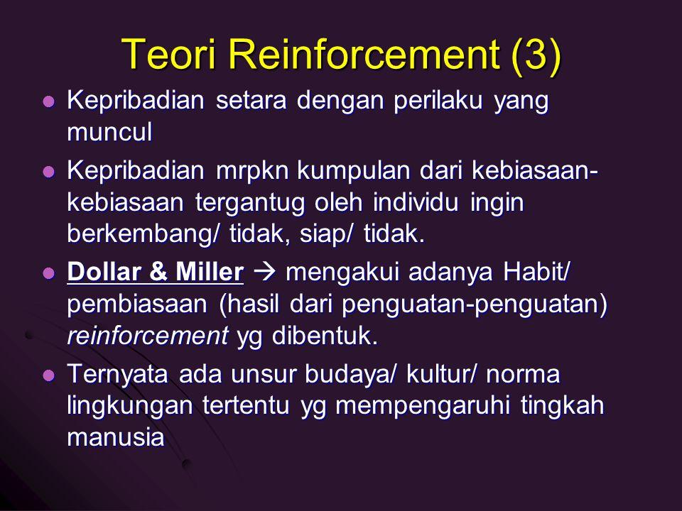 Teori Reinforcement (3) Kepribadian setara dengan perilaku yang muncul Kepribadian setara dengan perilaku yang muncul Kepribadian mrpkn kumpulan dari