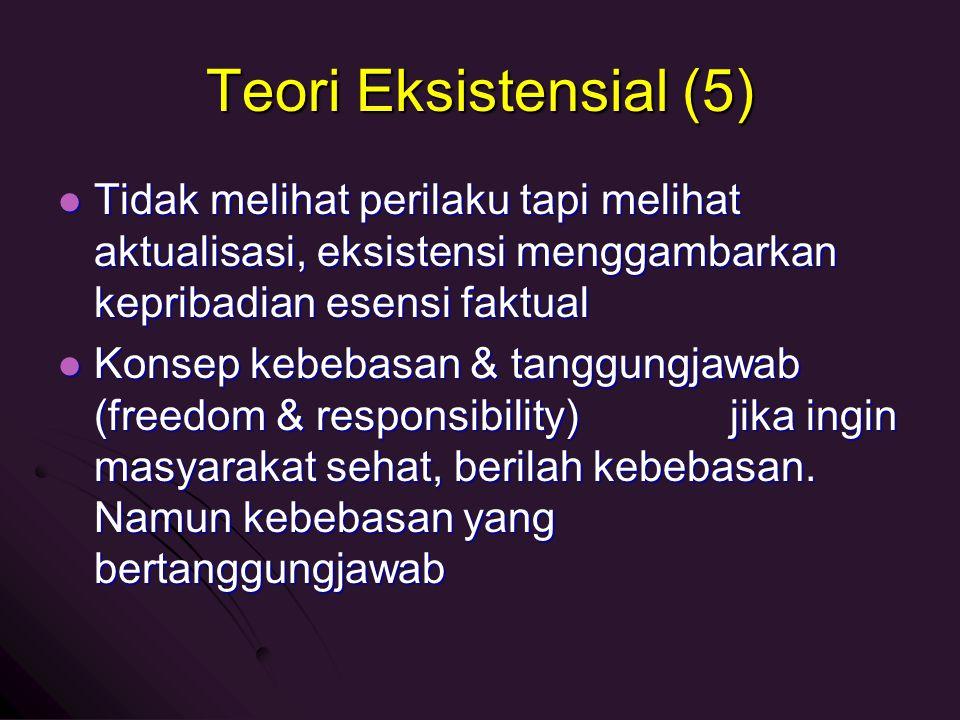 Teori Eksistensial (5) Tidak melihat perilaku tapi melihat aktualisasi, eksistensi menggambarkan kepribadian esensi faktual Tidak melihat perilaku tap