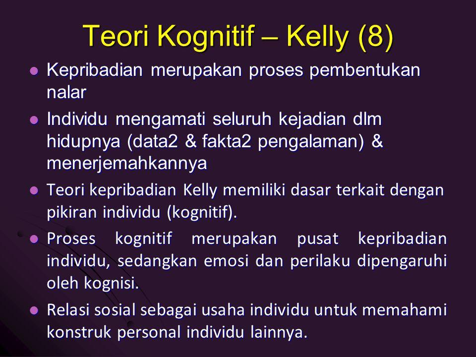 Teori Kognitif – Kelly (8) Kepribadian merupakan proses pembentukan nalar Kepribadian merupakan proses pembentukan nalar Individu mengamati seluruh ke