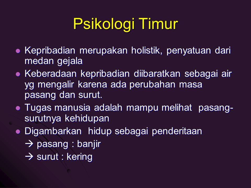 Psikologi Timur Kepribadian merupakan holistik, penyatuan dari medan gejala Kepribadian merupakan holistik, penyatuan dari medan gejala Keberadaan kep