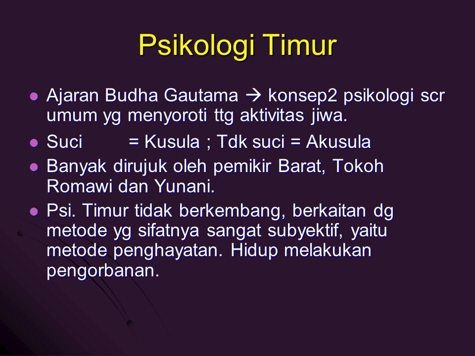 Psikologi Timur Ajaran Budha Gautama  konsep2 psikologi scr umum yg menyoroti ttg aktivitas jiwa. Ajaran Budha Gautama  konsep2 psikologi scr umum y