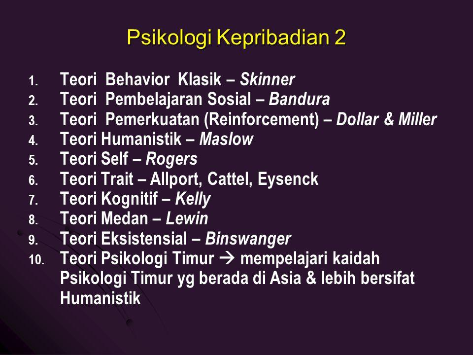 Psikologi Kepribadian 2 1. 1. Teori Behavior Klasik – Skinner 2. 2. Teori Pembelajaran Sosial – Bandura 3. 3. Teori Pemerkuatan (Reinforcement) – Doll