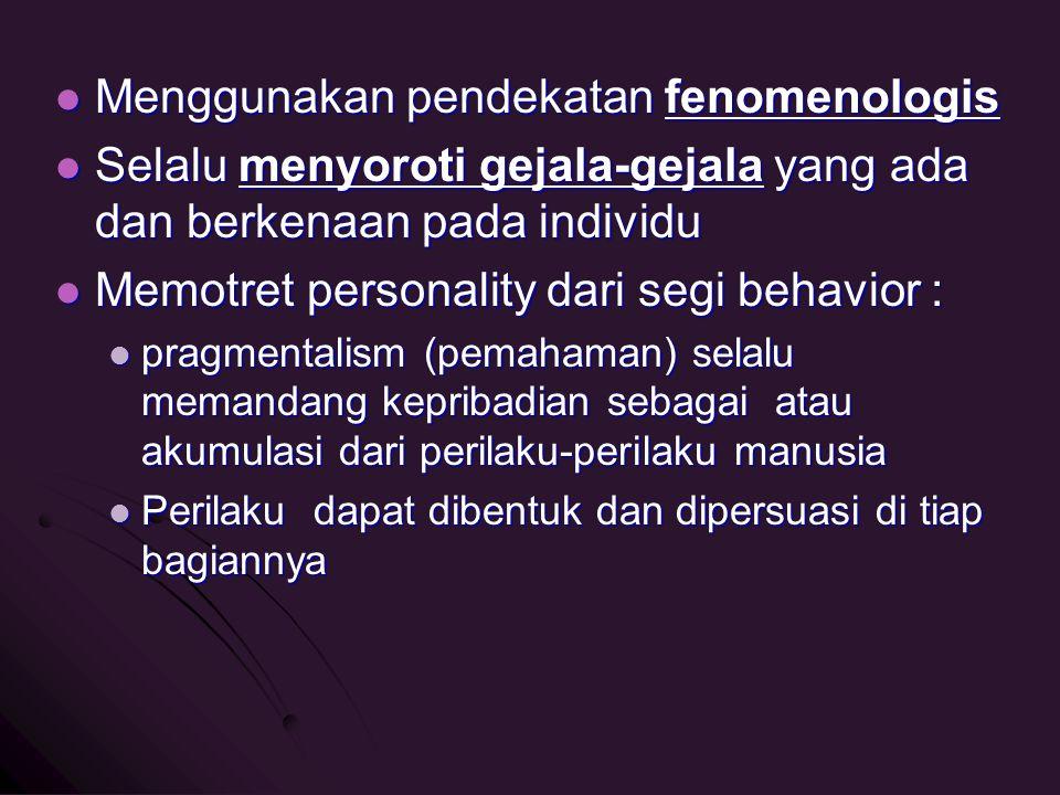 Menggunakan pendekatan fenomenologis Menggunakan pendekatan fenomenologis Selalu menyoroti gejala-gejala yang ada dan berkenaan pada individu Selalu m