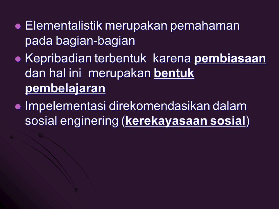 Elementalistik merupakan pemahaman pada bagian-bagian Elementalistik merupakan pemahaman pada bagian-bagian Kepribadian terbentuk karena pembiasaan da