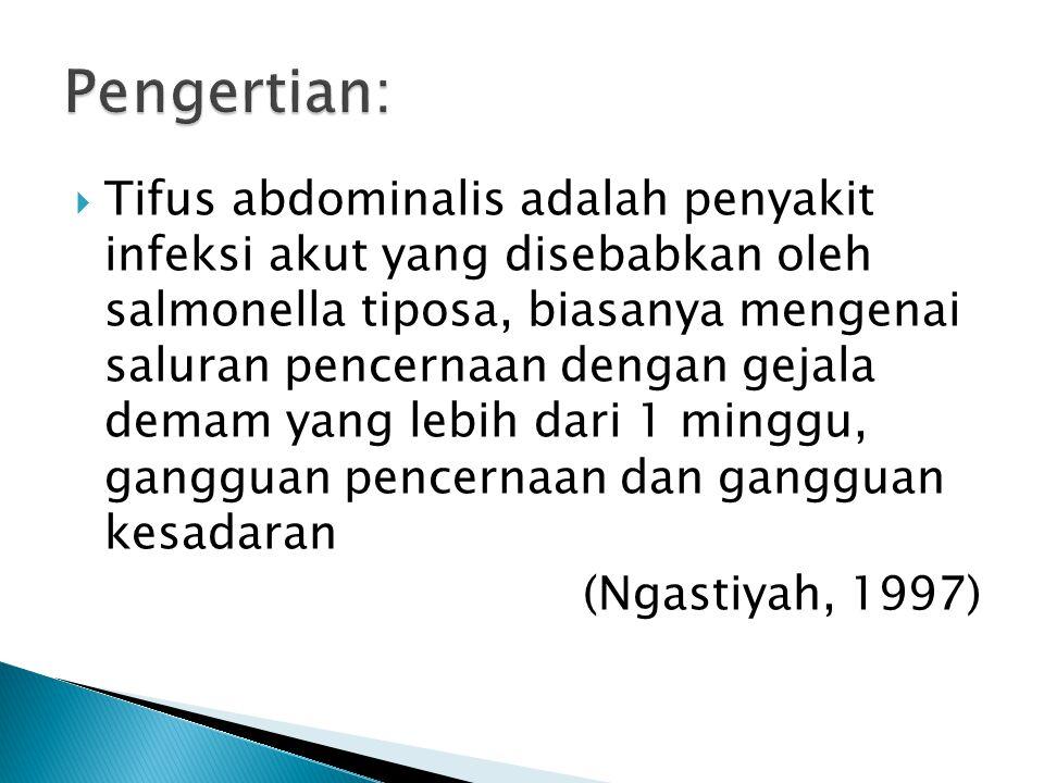  Tifus abdominalis adalah penyakit infeksi akut yang disebabkan oleh salmonella tiposa, biasanya mengenai saluran pencernaan dengan gejala demam yang lebih dari 1 minggu, gangguan pencernaan dan gangguan kesadaran (Ngastiyah, 1997)