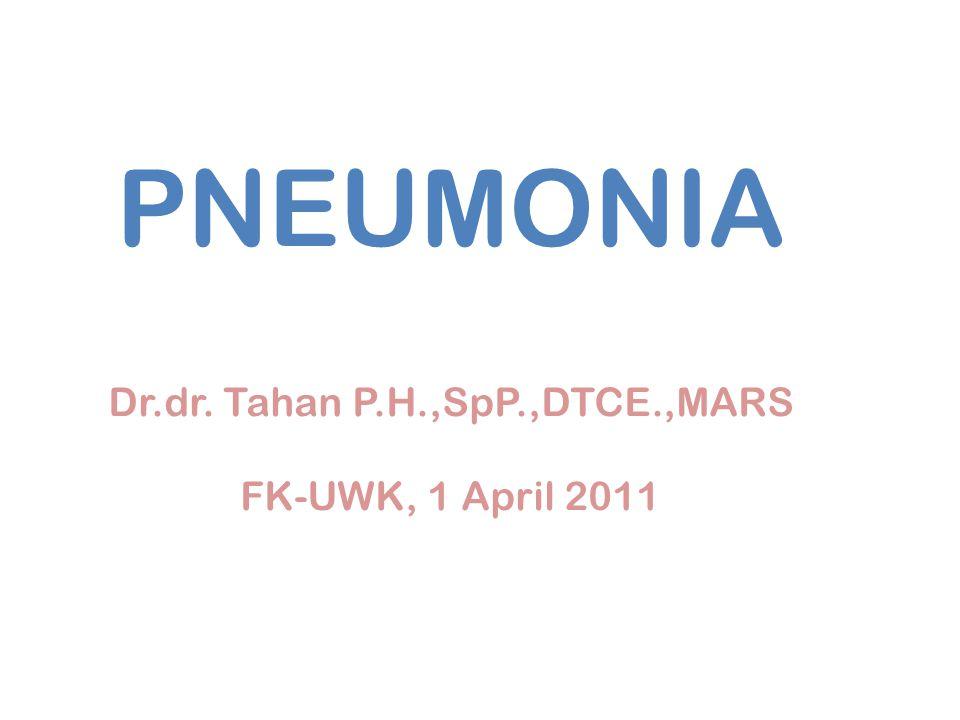 Rawat Intensif -Tidak ada faktor resiko infeksi pseudomonas: Sefalosporin generasi 3 i.v non pseudomonas + makrolid baru @ Fluorokuinolon respirasi i.v -Ada faktor resiko infeksi pseudomonas: Sefalosporin antipseudomonas i.v @ Karbapenem i.v + Fluorokuinolon anti pseudomonas (Siprofloxacin) i.v @ aminoglikosida i.v -Bila curiga disertai infeksi bakteri atipik: Sefalosporin antipseudomonas i.v @ Karbapenem i.v + Makrolid baru @ Fluorokuinolon respirasi i.v.