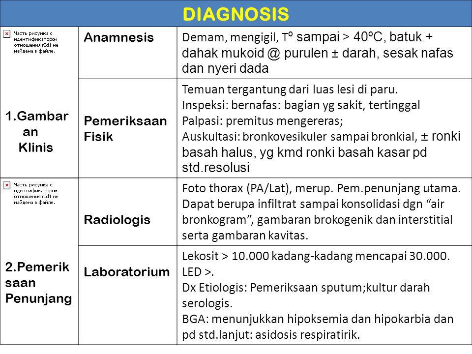 DIAGNOSIS 1.Gambar an Klinis Anamnesis Demam, mengigil, T º sampai > 40ºC, batuk + dahak mukoid @ purulen ± darah, sesak nafas dan nyeri dada Pemeriks