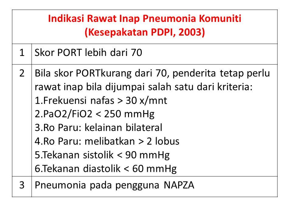 Indikasi Rawat Inap Pneumonia Komuniti (Kesepakatan PDPI, 2003) 1Skor PORT lebih dari 70 2Bila skor PORTkurang dari 70, penderita tetap perlu rawat in
