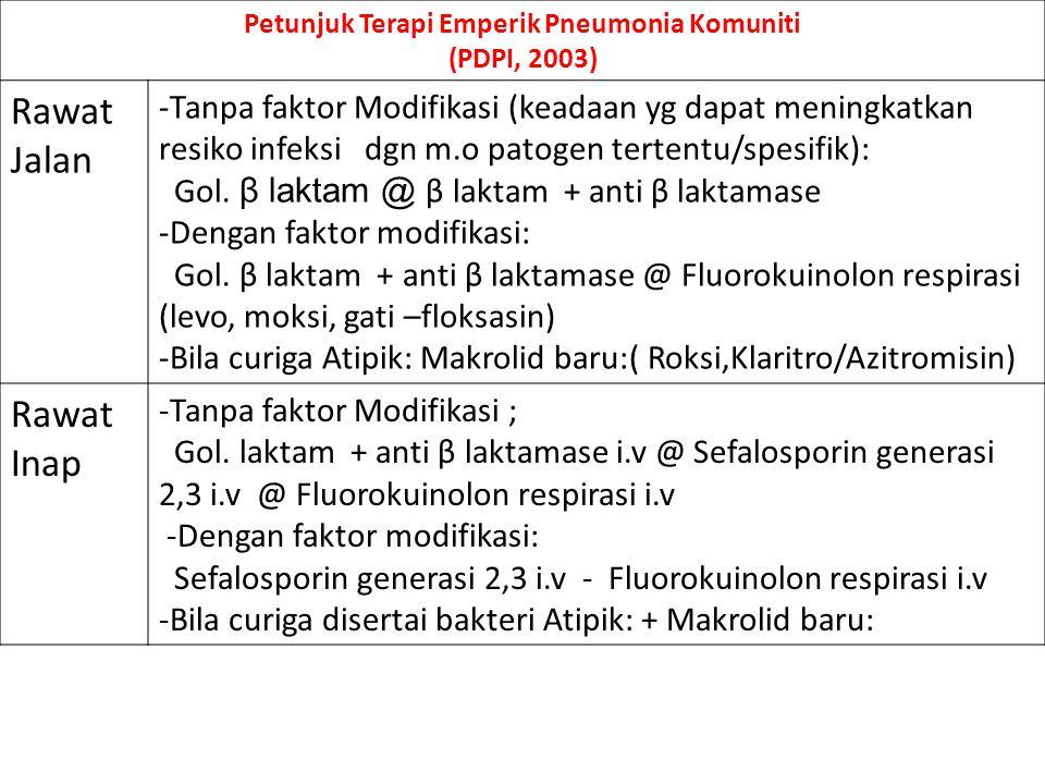 Petunjuk Terapi Emperik Pneumonia Komuniti (PDPI, 2003) Rawat Jalan -Tanpa faktor Modifikasi (keadaan yg dapat meningkatkan resiko infeksi dgn m.o pat