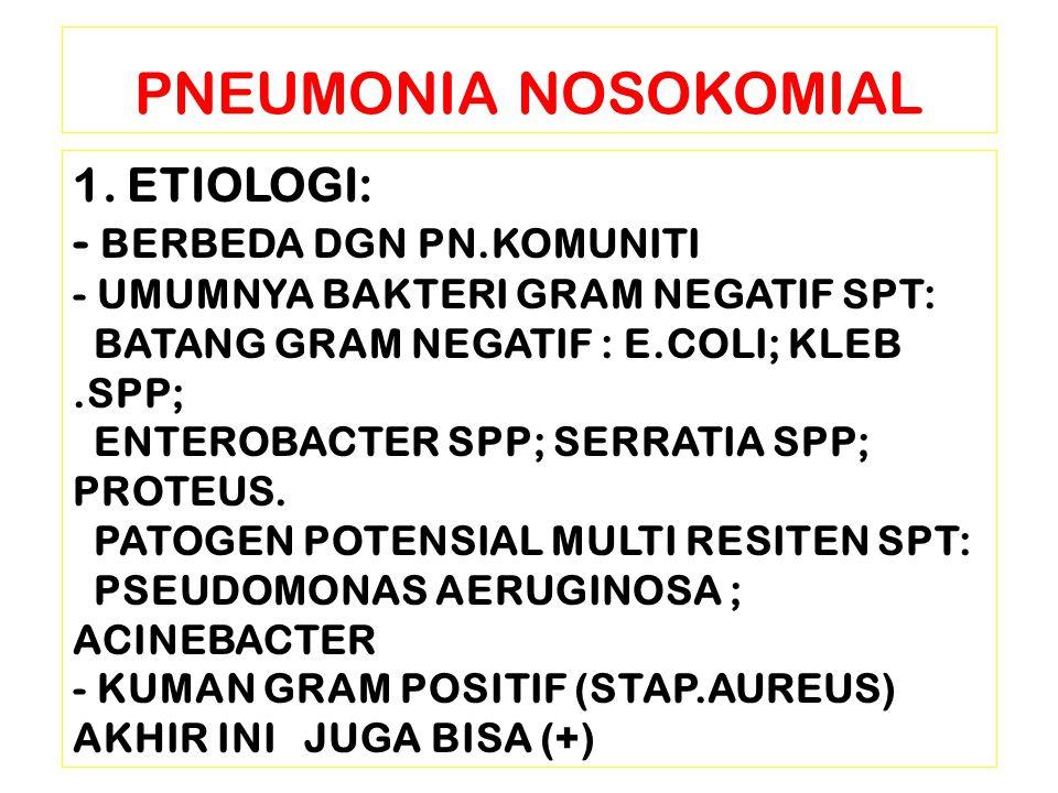 1. ETIOLOGI: - BERBEDA DGN PN.KOMUNITI - UMUMNYA BAKTERI GRAM NEGATIF SPT: BATANG GRAM NEGATIF : E.COLI; KLEB.SPP; ENTEROBACTER SPP; SERRATIA SPP; PRO